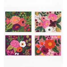 Keep summer going all year round with these four vivid floral designs, culled from Anna Bond's paintings, reproduced in this new set of notecards by Rifle Paper Co. Eight folded notecards, two each of four designs, with envelopes.