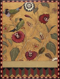 """""""Finches With Flowers"""" by Sterling Mulbry part of the """"Beasts of Burden"""" art show in Boston, MA. Painter Artist, Finches, C'est Parti, Boston, Beast, Flowers, Painting, Animals, Image"""