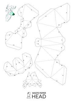 Papercraft Deer Head 2 Printable DIY Template By WastePaperHead