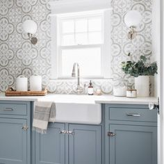 Blue Laundry Rooms, Laundry Room Tile, Laundry Room Cabinets, Blue Kitchen Cabinets, Farmhouse Sink Kitchen, Kitchen Sink Faucets, Kitchen Backsplash, Vanity Faucets, Modern Farmhouse