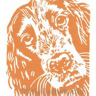 'Cocker Spaniel Dog' - Original, hand printed linocut, printed on hand press in tan ink. Signed and titled in pencil by the artist. Supplied in a cream mount. PERSONALIZE YOUR PRINT... Gary can replace the dog breed title on the print with your own dog...