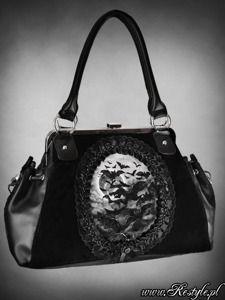 """VAMP"" gothic cameo handbag on metal frame, flying bats"