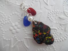 Items similar to Black Sea Glass Necklace English Red Blue Beach Jewelry Multi Seaglass on Etsy Sea Glass Necklace, Sea Glass Jewelry, Beach Jewelry, Green And Orange, Red And Blue, Penny Rugs, Blue Beach, Head Pins, Black Sea
