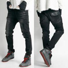 Remember Click Leather Flap Black Jeans BLACK S M L Korean Wear #RememberClick #ClassicStraightLeg
