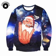 Funny Christmas Hoodies Winter Sweatshirt 3D Print Santa Claus Snowman Crewneck Sweats Christams cap Pullover Hot sale