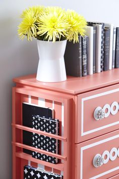 Dresser Makeover - I'm not so much into the color and I think I would keep it more simple. But I like the idea of using an old menu rack or tray on the side. Painted the same color it just blends into the furniture.