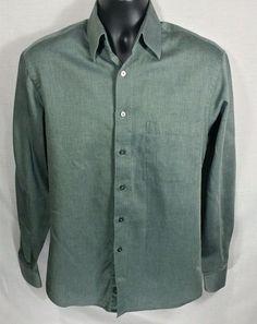 Donna Karan Signature Gray Long Sleeve Button-Front Shirt Cotton Sz 15 34-35…