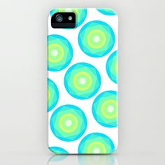 Geo iPhone & iPod Case by Anchobee - $35.00 #iphone #samsung #galaxy #ipod #case #anchobee #pretty #fancy #geometric #blue #turquoise #green #circles #yellow