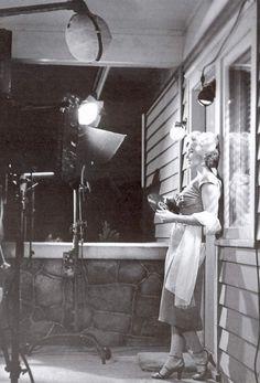 Marilyn Monroe on the set of Niagara, 1952.