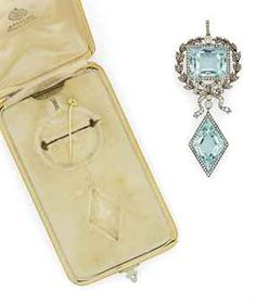 A Gold and Silver-Mounted Aquamarine and Diamond Brooch/Pendant by Fabergé