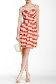 Stripe Print Cutout Trim Dress