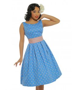 'Lana' Blue Dream Polka Dot Swing Dress