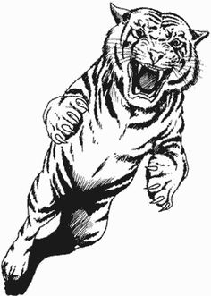 Jumping Tiger Tattoo Design