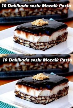 Mosaic Cake with sauce in 10 minutes- Party Fotos, Pasta Cake, Cake Recipes, Dessert Recipes, Turkish Recipes, Sweet Desserts, Chocolate Desserts, No Cook Meals, Food Cakes
