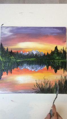 Canvas Painting Tutorials, Diy Canvas Art, Acrylic Painting Tutorials, Landscape Art, Sunset Landscape, Landscape Paintings Simple, Simple Landscape Drawing, Easy Nature Paintings, Landscape Drawing Tutorial