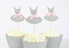 Tutu Cupcake Topper- Silver Glitter Tutu, Ballerina Birthday Party, Decorations, Pink and Silver Decorations, Cake Picks, Tutus and Bows
