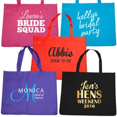 Custom and Personalised Hens Party Tote Bags Bridal Squad, Hens, Maid, Reusable Tote Bags, Budget, Party, Prints, Diamonds, Printed