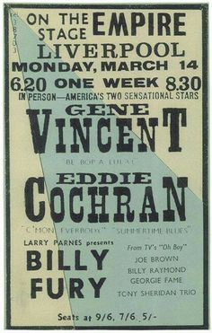 Billy Fury with Eddie Cochran and Gene Vincent.