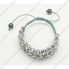 Fashion Friendship Bracelets, Nylon Cord with Glass Beads and Rhinestones beads, LightGrey