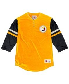 ea41046c7cc71 Mitchell   Ness Men s Pittsburgh Steelers Home Stretch Henley 2.0  Longsleeve T-Shirt   Reviews - Sports Fan Shop By Lids - Men - Macy s