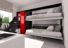 Dwa poziome łóżka chowane w szafie piętrowe. Górne łóżko posiada drabinkę i barierki zapobiegające wypadnięciu. Idealne rozwiązanie do pokoju dziecinnego. Compact Living, Bed Wall, Smart Design, Small Apartments, Bunk Beds, Armoire, Twins, Inspiration, Furniture