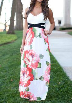 Red Floral Print Condole Belt Floor Length Bohemian Maxi Dress