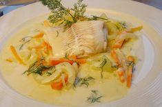 Dampet kuller på bund af fennikel og gulerod Fish Recipes, Soup Recipes, Cooking Recipes, Healthy Recipes, Healthy Food, Danish Food, Fish Dishes, Fish And Seafood, Curry