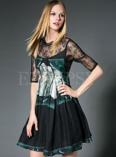 Shop for high quality Sexy Lace Short Sleeve Aline Casual Dress online at cheap prices and discover fashion at Ezpopsy.com