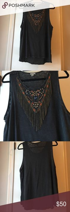 Ecoté beaded tank Charcoal gray beaded thick sleeve tank with fringe tassels Urban Outfitters Tops Tank Tops