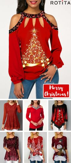 Shop womens tops Tops online,Tops with cheap wholesale price,shipping to worldwide Look Fashion, Autumn Fashion, Fashion Outfits, Womens Fashion, Fashion Design, Christmas Fashion, Christmas Gifts, Ugly Sweater, Christmas Sweaters