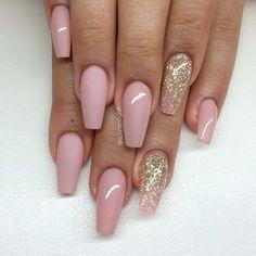 Nude Blush Pink + Matte Blush + Pink Glitter Ombre Long Coffin Nails #nail #nailart #nudepinknails
