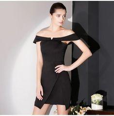 Sexy Slash Neck Short Black Dress