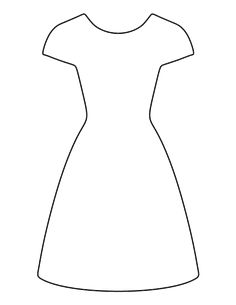Dress pattern. Use the printable outline for crafts, creating stencils, scrapbooking, and more. Free PDF template to download and print at http://patternuniverse.com/download/dress-pattern/