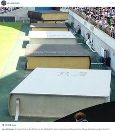 One pinner commented: The baptismal pools today at the Seoul International Convention! Saturday 9/6/2014 They also had their new revised Bibles in Korean released yesterday, Friday 9/5/2014. ( other picture shows them open )