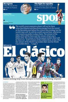Guardian Sport section cover: El Clåsico.