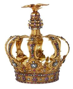 Gold Portuguese crown of about 1760, with diamonds, emeralds and rubies.