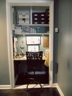 Shelf under lighting in closet office