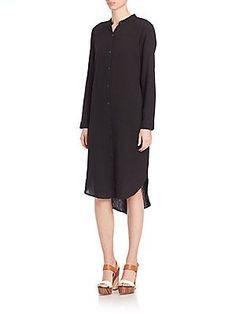 Eileen Fisher Solid Cotton Mandarin Collar Dress - Black - Size