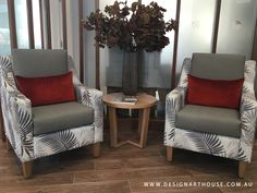 Aged Care reception chairs featuring a two fabric design custom made armchairs. Aged Care, Wingback Chair, Armchairs, Fabric Design, Living Spaces, Accent Chairs, Reception, Throw Pillows, Decoration