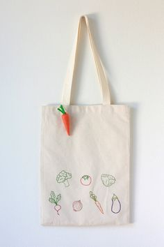 Vegetable Embroidered Cotton Canvas Tote Bag with Felt Carrot Keychain- so cute!