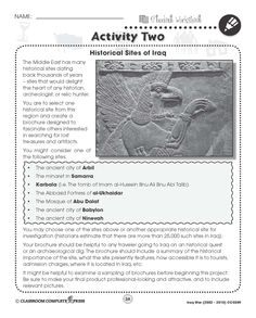 Design a brochure for one of the historical sites found in Iraq with this FREE activity from CCP Interactive, a division of Classroom Complete Press. See our full ready-made lesson at http://ccpinteractive.com/pdf/iraq-war-%282003-2010%29-ccp5509 #remember #memorial #socialstudies #history #wars
