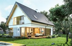 Projekt domu Viking 4 156,9 m2 - koszt budowy 225 tys. zł - EXTRADOM Design Case, Vikings, Shed, Outdoor Structures, Cabin, House Styles, Outdoor Decor, Projects, Home Decor