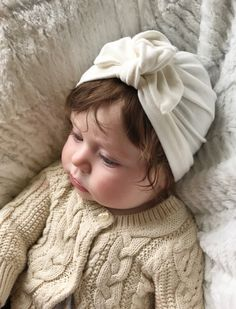 Cream baby turban hat with bow