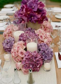 Table decorations in Radiant Orchid. #colour #2014