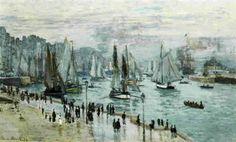 モネ 「ル・アーブル、港を出る漁船」 1874  60 x 101 cm  個人蔵