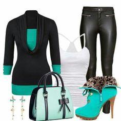 Black and Jade Green
