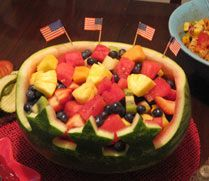 Fruit Bowl Edible July 4th Centerpiece~Can be also used for Memorial Day...Love the stars !