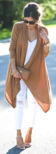 White + Cognac - Fall 2015 Outfits... Love this color combo!!!