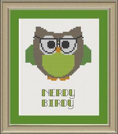 Nerdy birdy: cute owl cross-stitch pattern by nerdylittlestitcher