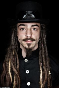 The beard and the wonderful: Photographer captures men with the world's best facial hair for new bookCool: A man with dreadlocks and interesting facial hair poses for Matt Dreads Styles, Mens Facial, Facial Hair, Moustaches, Mustache And Goatee, Texturizer On Natural Hair, Facial Piercings, Great Beards, Beard Tattoo